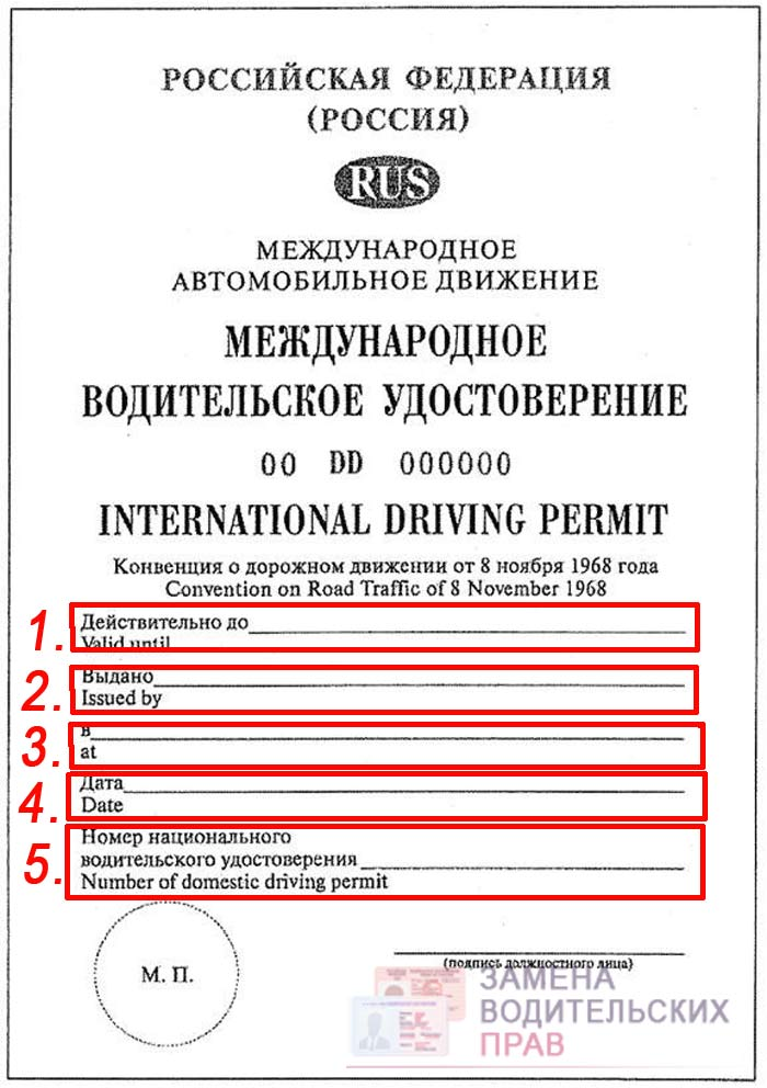 Лицевая сторона международного водительского удостоверения