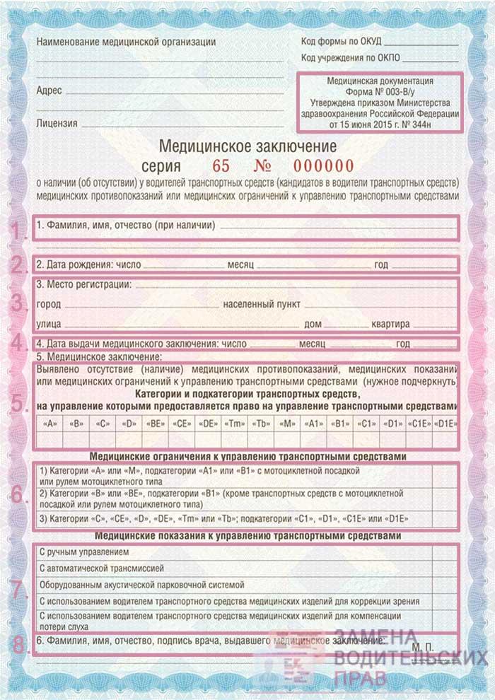 Медицинская справка в ГИБДД - бланк документа